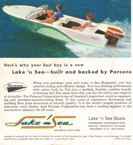 The Parsons Corporation used the same brochure in 1958 that Chris-Craft had used in 1957 and simply changed the manufacturer. (Courtesy of Lee Wangstad)