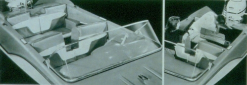 1959 Parsons Corporation brochure showing the gull wing pattern seat cushions which resemble the dashboard of the Caribbean and Arrowhead models.