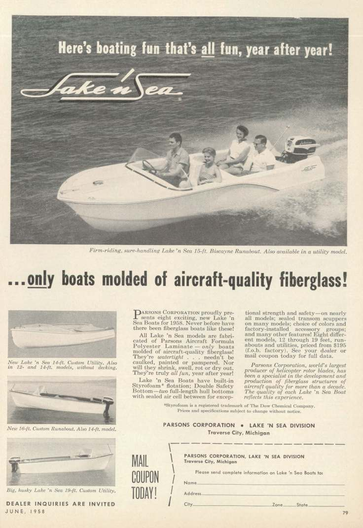 Lake 'n Sea advertisement (Popular Boating 06-1958)