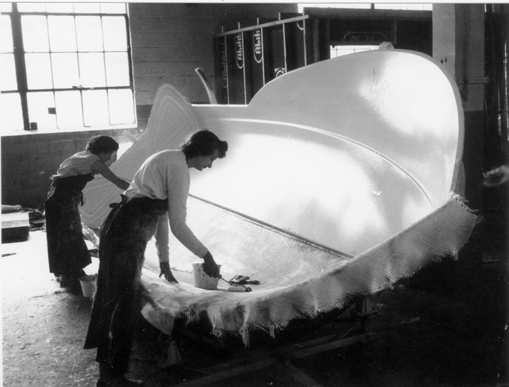 Michigan Fiberglass Company Women Workers Applying Fiberglass Cloth to Lake 'n Sea boat ca. 1960